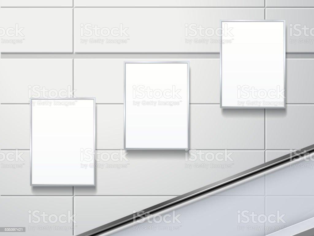 blank billboards on the wall vector art illustration