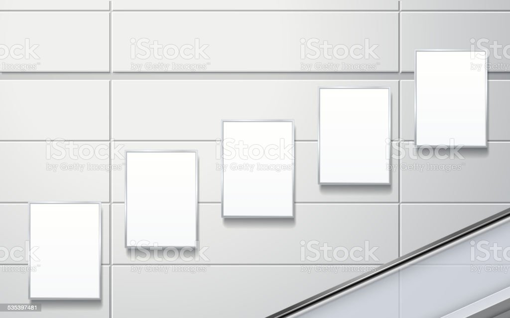 blank billboards on the wall vector art illustration