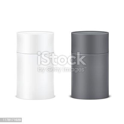 Blank black and white cardboard cylinder box mockup. Paper tube isolated on white background.
