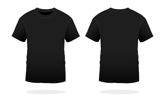 Blank Black T-Shirt Vector For Template