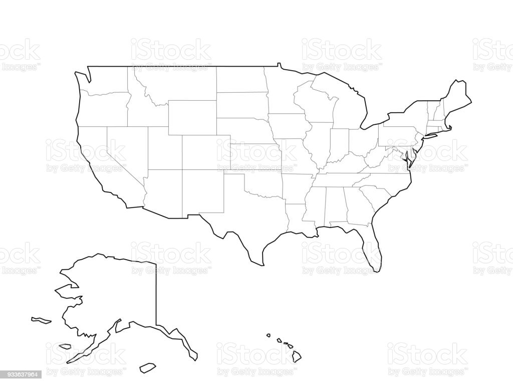 Blank Black Vector Outline Map Of Usa United States Of America Stock Illustration Download Image Now Istock
