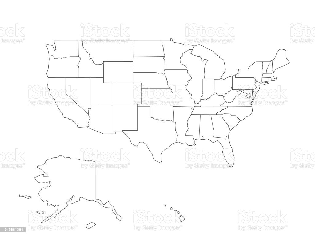Blank Black Vector Outline Map Of Usa United States Of America Stock ...