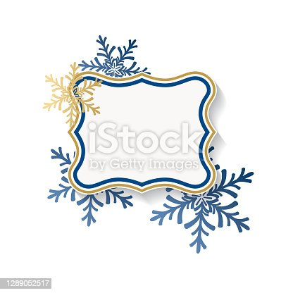 istock Blank Blue And Gold Christmas Tags With Ornaments 1289052517