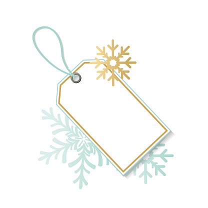 Blank Blue And Gold Christmas Tags With Ornaments
