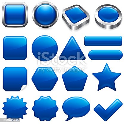 Blank Blue buttons. Blank Blue buttons app and interface computer icons are on white background. There are a total of seventeen unique button design in this illustration. The top row has 3D square and round buttons with shiny metallic silver frame. The lower part of the image includes vector buttons of various shapes and sizes; long button, star, star burst, dialogue speech bubble and check mark.