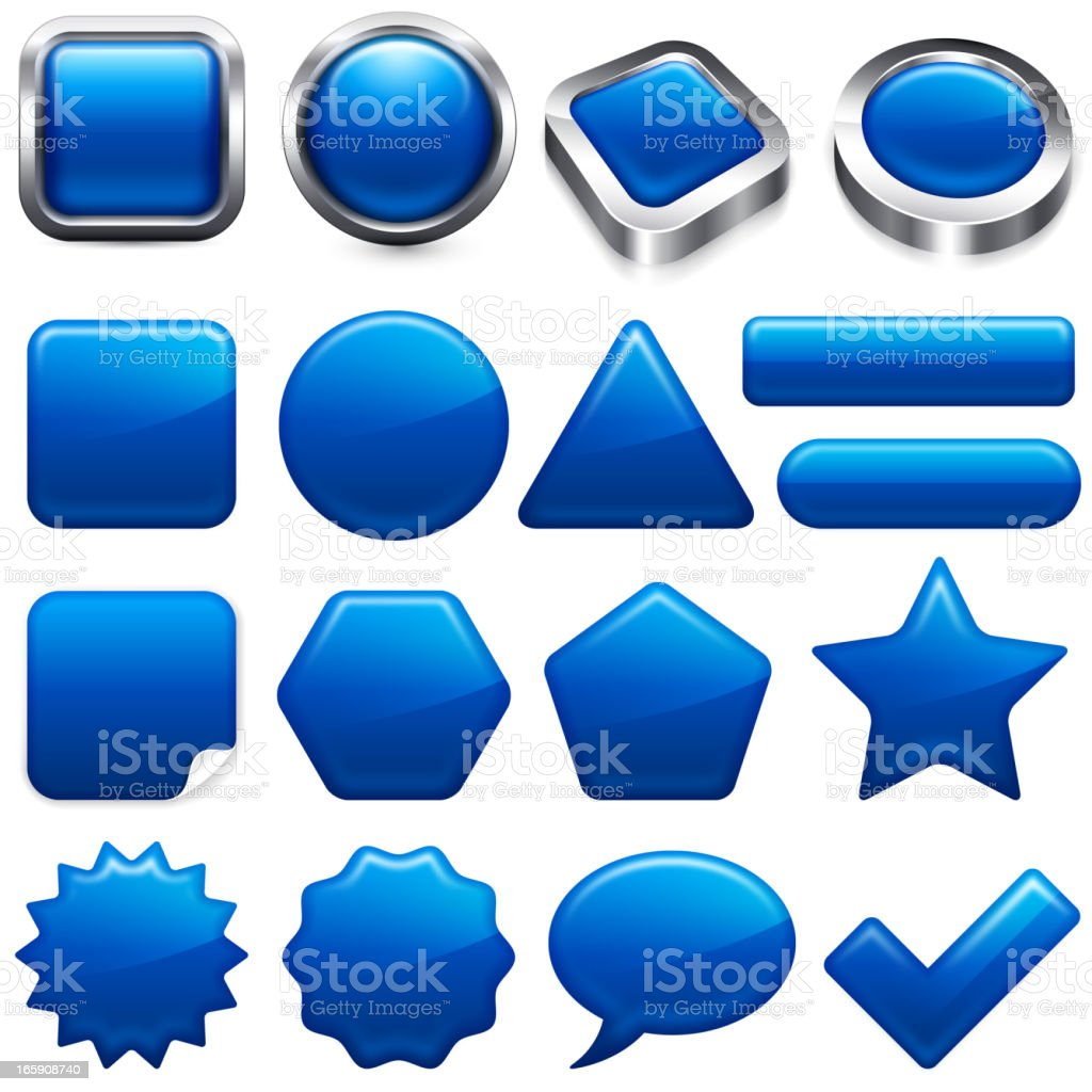 Blank Blue buttons app and interface computer icons vector art illustration