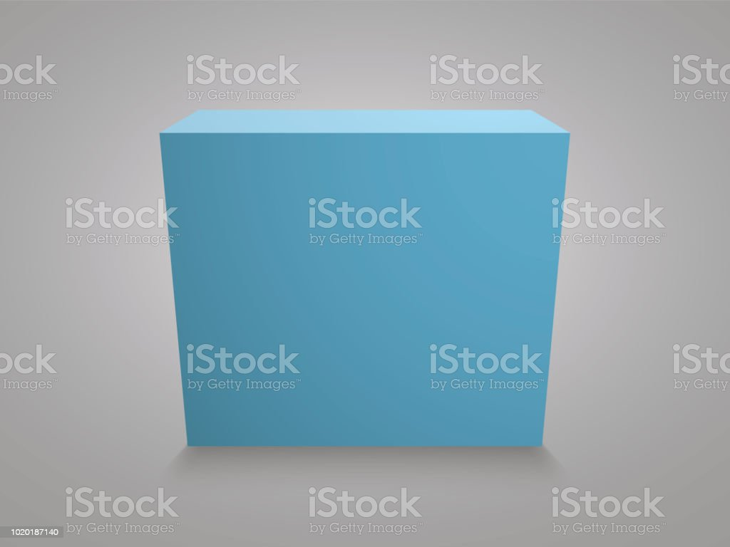 Blank Blue Cube On Grey Background 3d Box Template Stock Vector Art