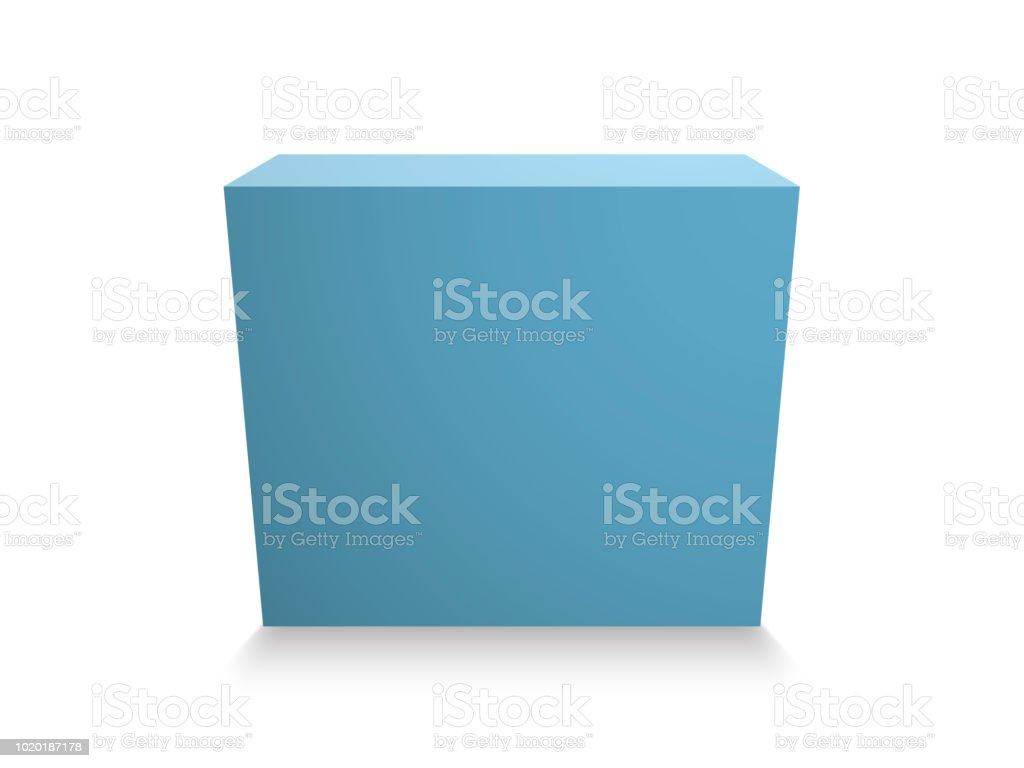 Blank Blue Cube On White Background 3d Box Template Stock Vector Art