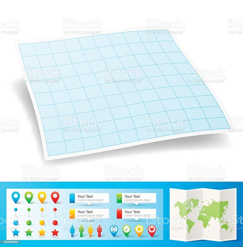 Leere Blaue Millimeterpapier Mit Lage Pins Isoliert Weißer ...