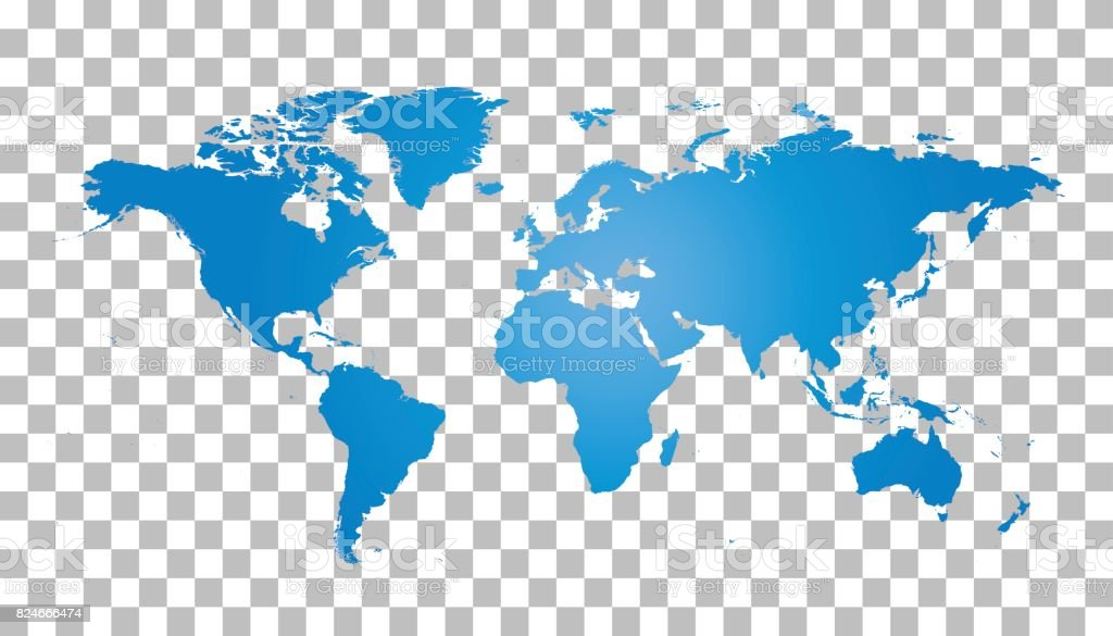 Blank blue world map on isolated background. World map vector template for website, infographics, design. Flat earth world map illustration vector art illustration