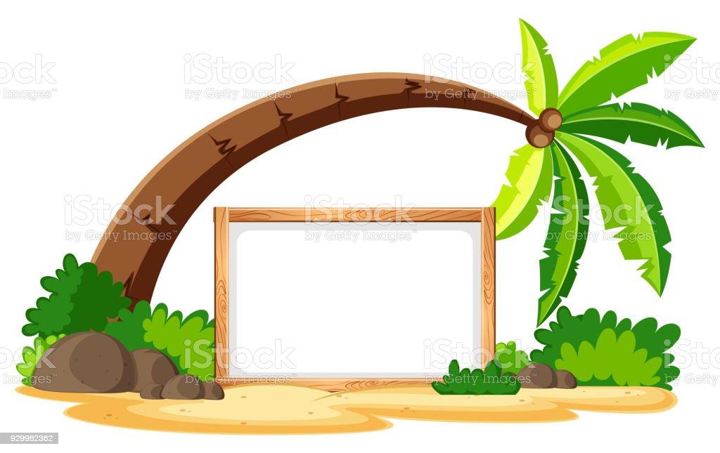 Leere Platine Und Kokosnuss Baum Am Strand Stock Vektor Art und mehr ...
