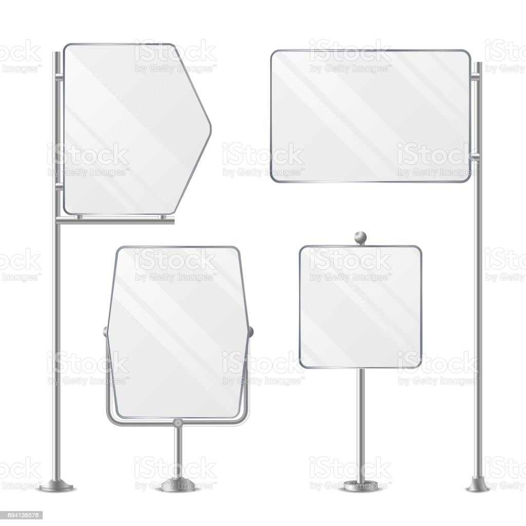 3D Blank Boards On Poles For Placing Price And Business Advertising. Outdoor Empty Holder Stands Set. Isolated On White Background. Vector Illustration vector art illustration