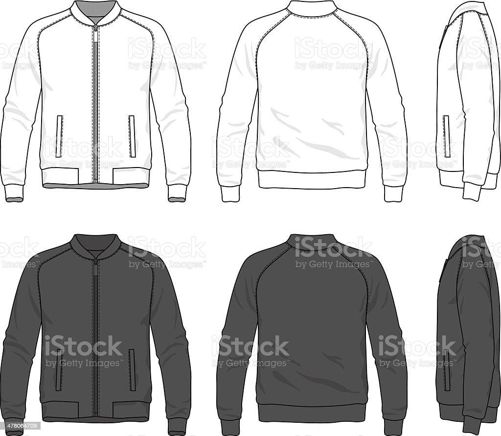 blank bomber jacket with zipper vector art illustration