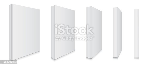 Blank Book Cover Mock Up Vector Illustration Set With Different Perpective Views.