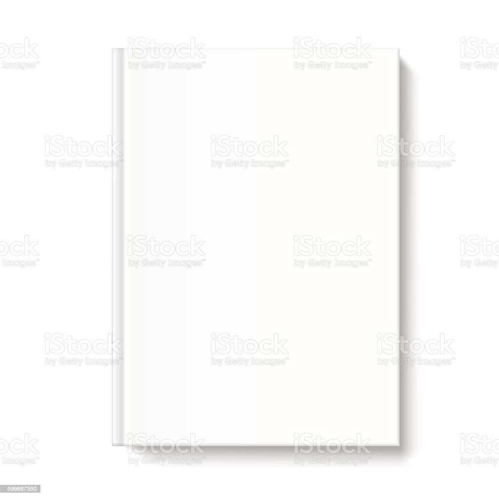 Blank book cover template on white background