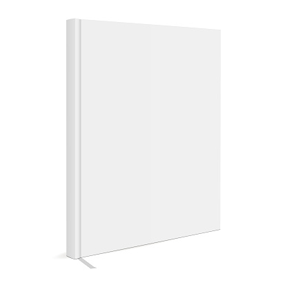 Blank book cover with bookmark isolated on white background