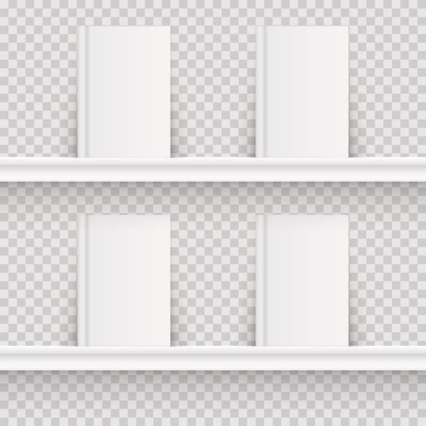 Blank book on book shelf. Hardcover Book Mock-Up isolated on transparent background. Vector illustration. vector art illustration