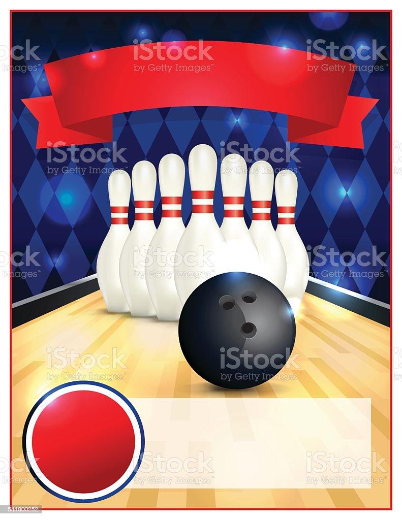 Blank Bowling Flyer Template Illustration vector art illustration