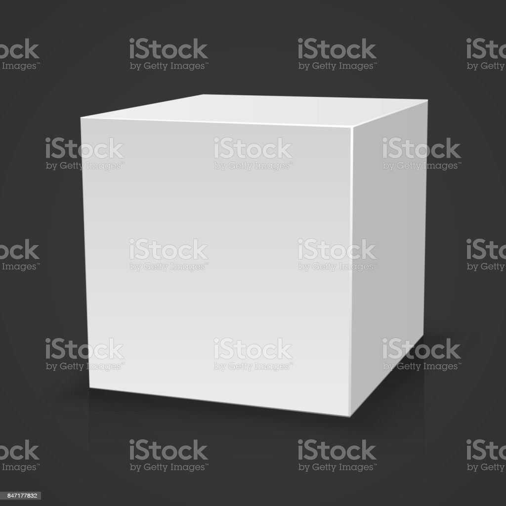 Blank box on black background with reflection. vector art illustration