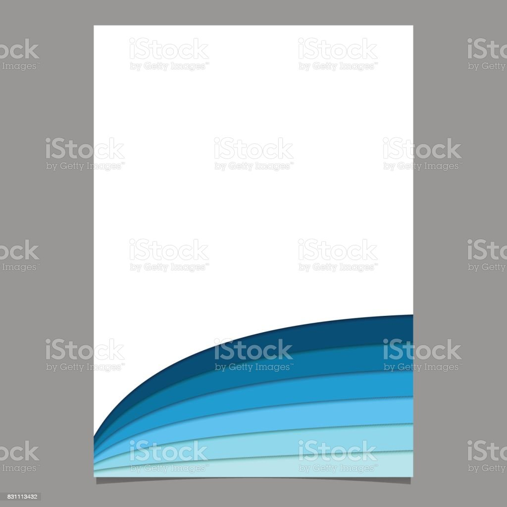 Blank Brochure Template From Curved Stripes In Blue Tones Vector