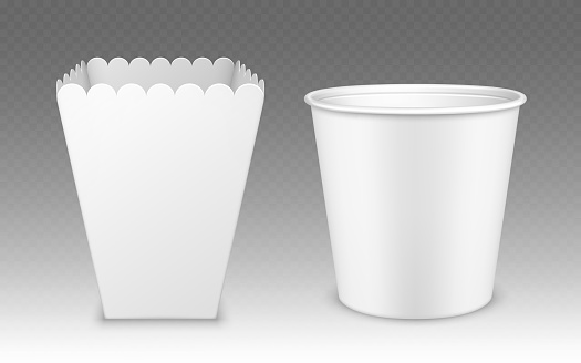 Blank bucket for popcorn, hen wings or legs mockup