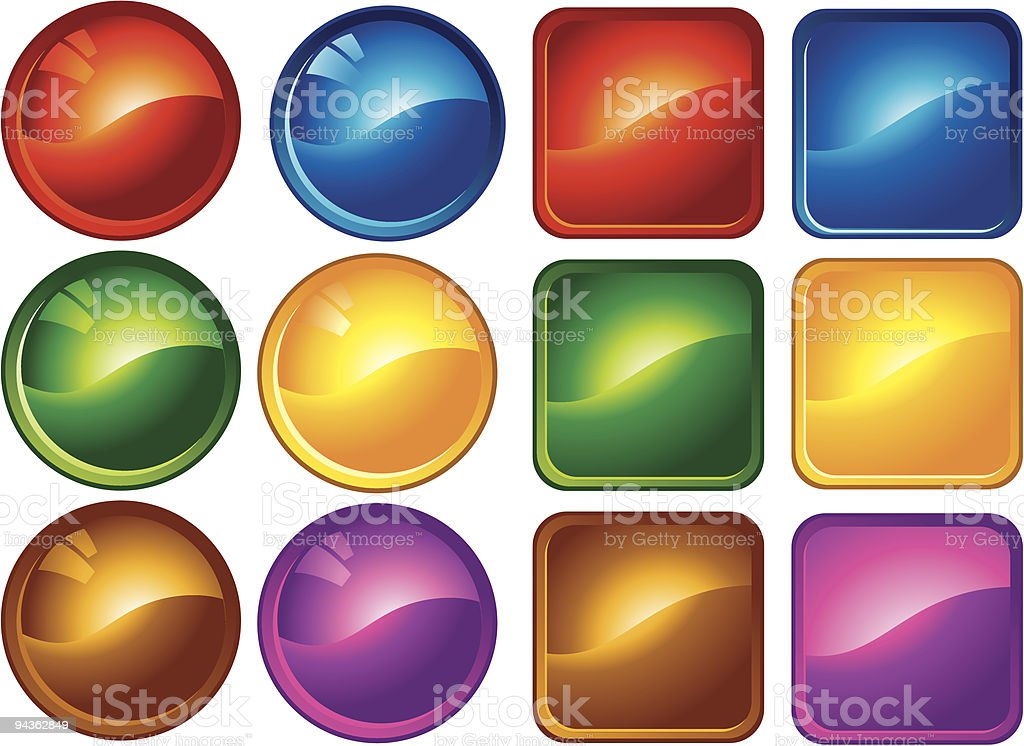 Blank Button Icons royalty-free stock vector art
