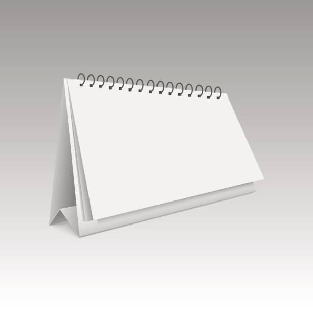 leeren kalender mock-up. 3d vektor-illustration auf weißem hintergrund. - tischkalender stock-grafiken, -clipart, -cartoons und -symbole