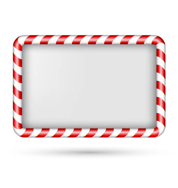 Blank candy cane frame isolated on white Blank candy cane frame isolated on white background candy borders stock illustrations