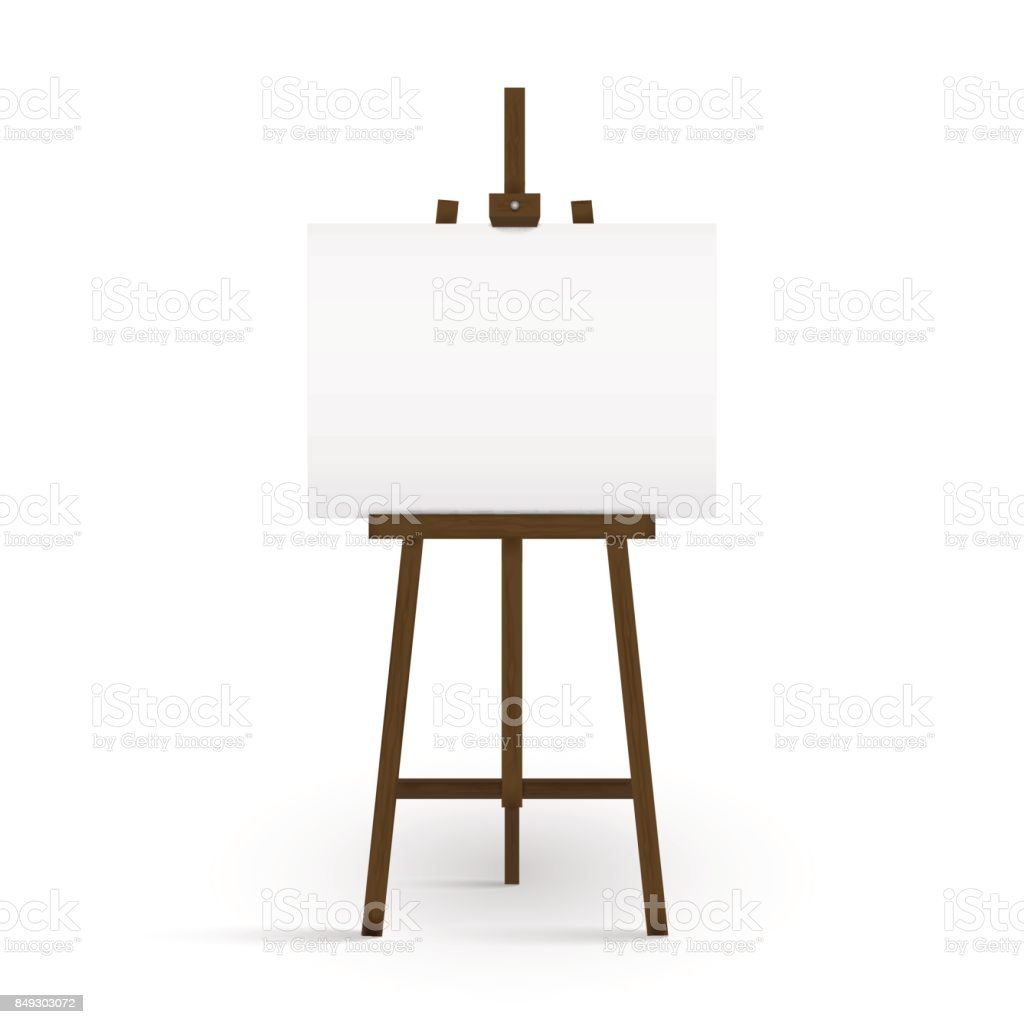 blank canvas on a artist easel blank art board and wooden easel