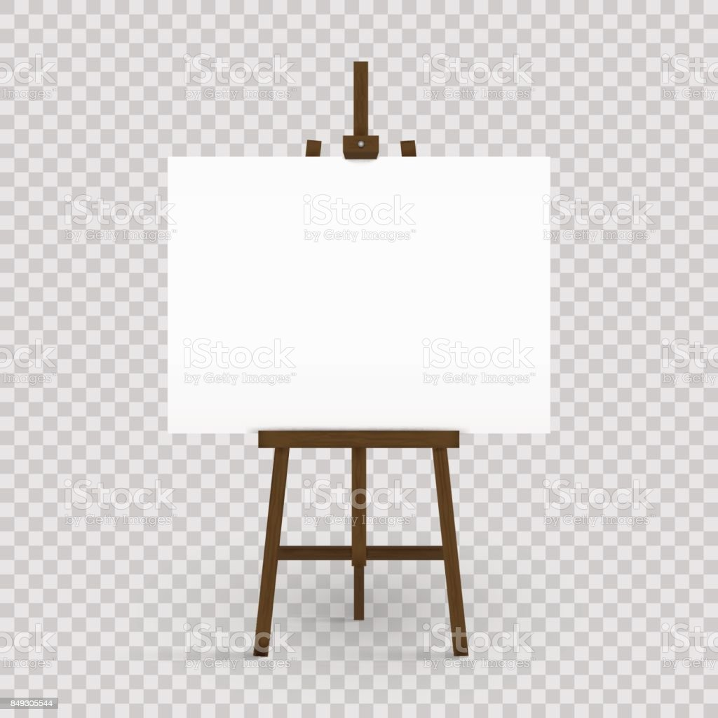 Blank canvas on a artist' easel. Blank art board and wooden easel isolated on transparent background. Vector illustration. vector art illustration