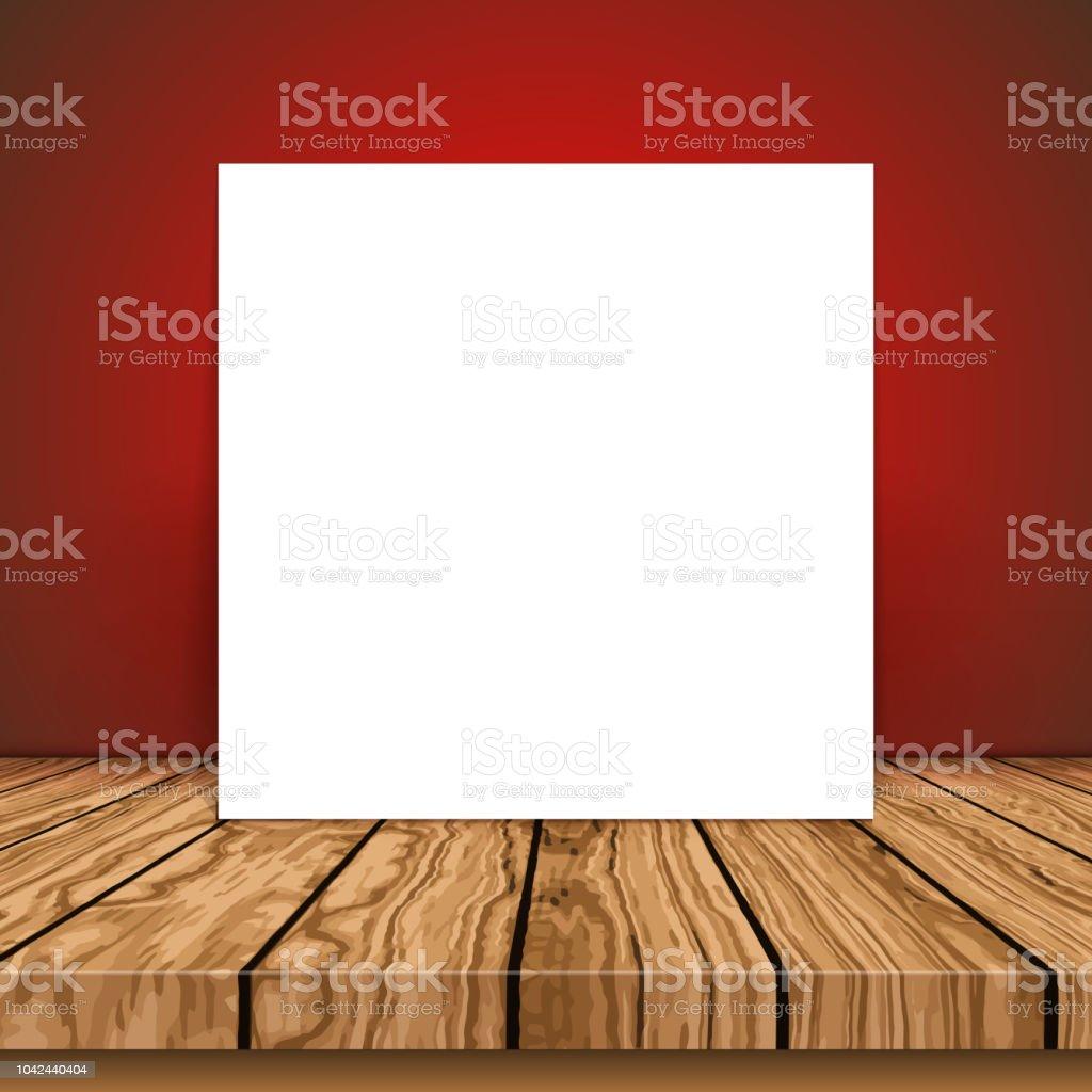 Blank canvas on a wooden table vector art illustration