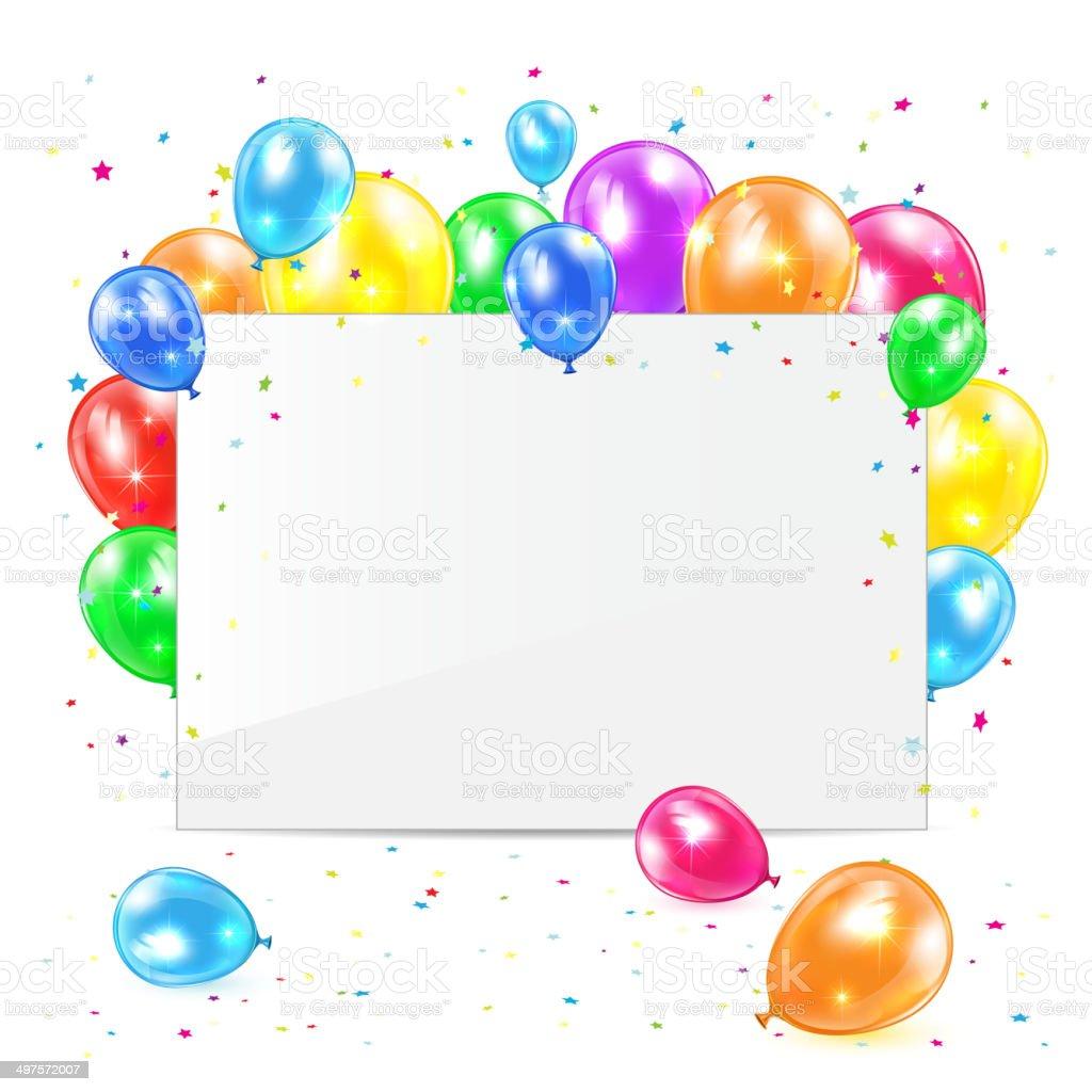 Carte Vierge Avec Des Ballons Vecteurs Libres De Droits Et Plus D Images Vectorielles De Anniversaire Istock