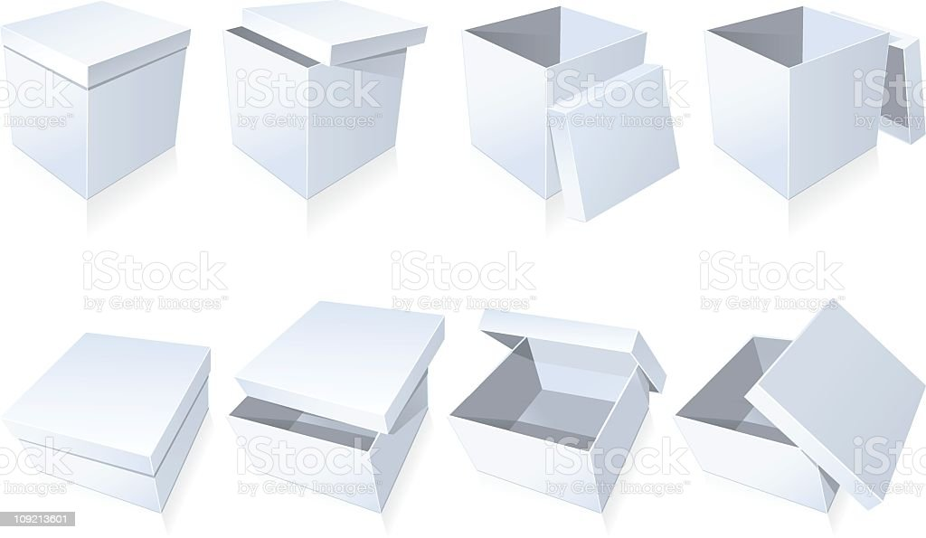 Blank cardboard boxes with white lids vector art illustration