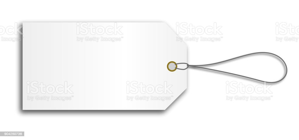 blank cardboard price tag lable with string vector art illustration
