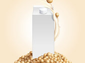 Blank milk carton mockup with soybeans and soymilk in 3d illustration