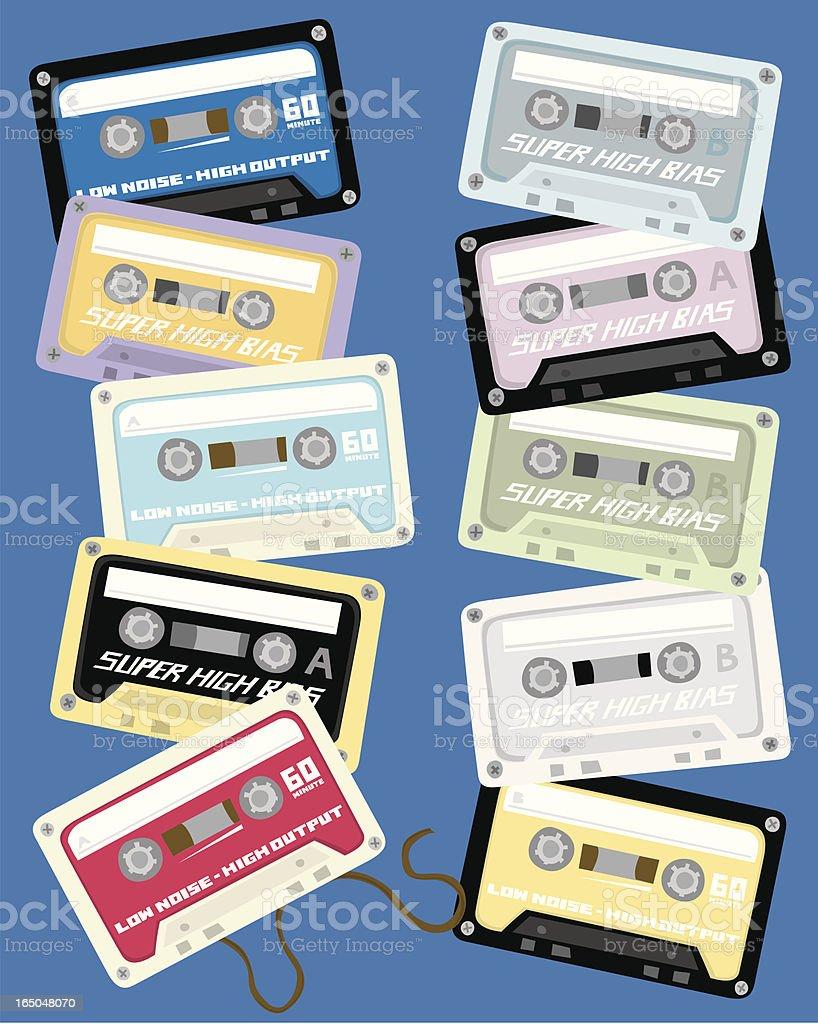Blank Cassette Tapes royalty-free stock vector art