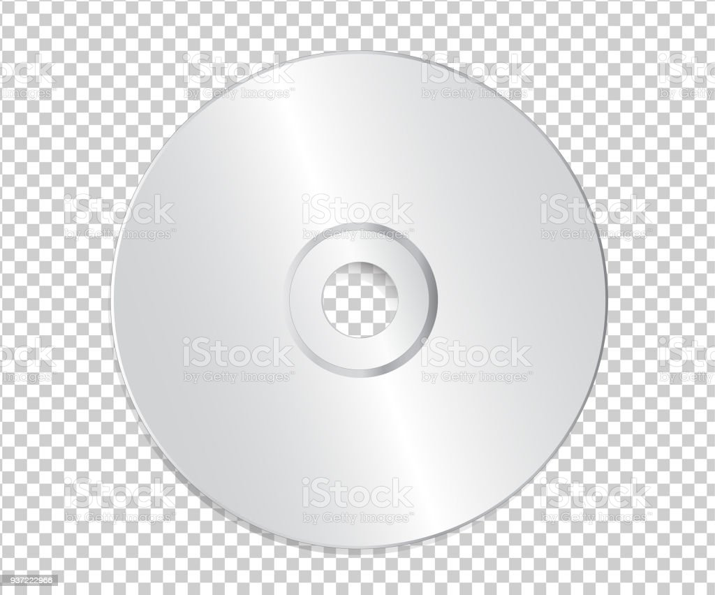 blank cd template on transparent background with shadow stock vector