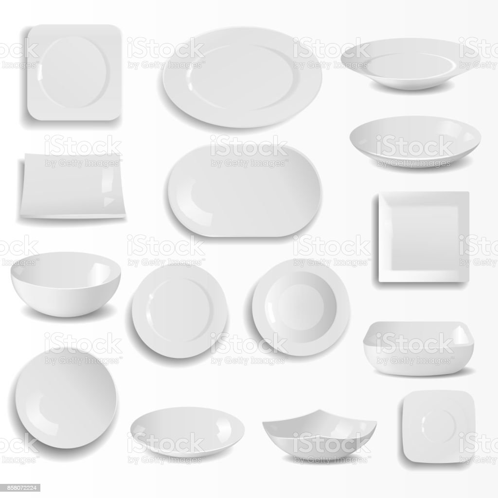 Blank Ceramic Plates Set Realistic Kitchen Dishes Template Cooking Dishware Round Empty Tableware Vector Illustration Stock Illustration Download Image Now Istock