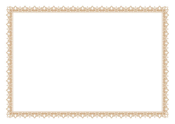 blank certificate border, ready add text, in gold color - сертификат stock illustrations
