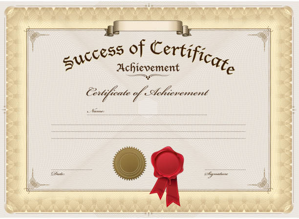 a blank certificate of achievement stock vector art more images of