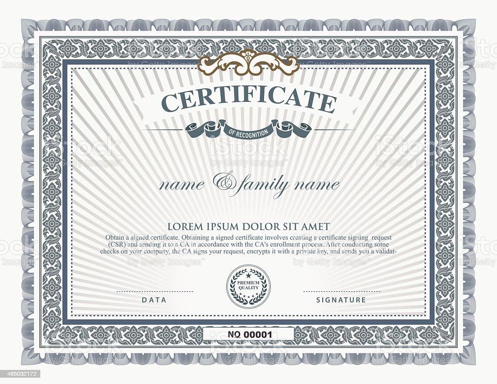 Zertifikat Vorlage Und Elemente Vektor Illustration 465032172 | iStock