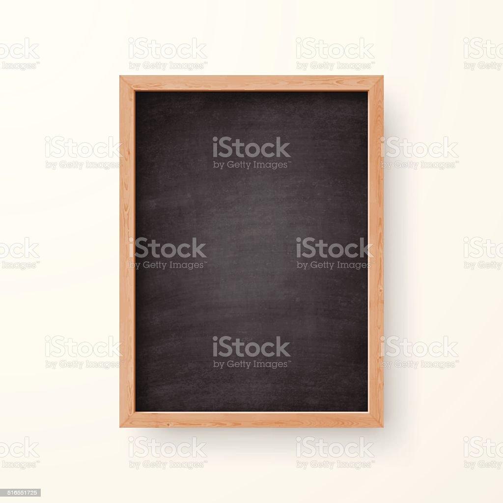 Em branco Chalkboard com moldura de madeira no fundo branco - ilustração de arte em vetor