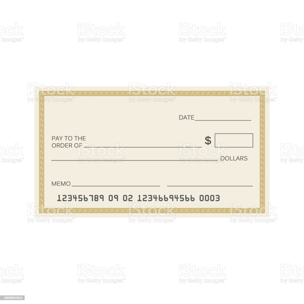 Blank Check Template Check Vector Template Banking Check Template ...