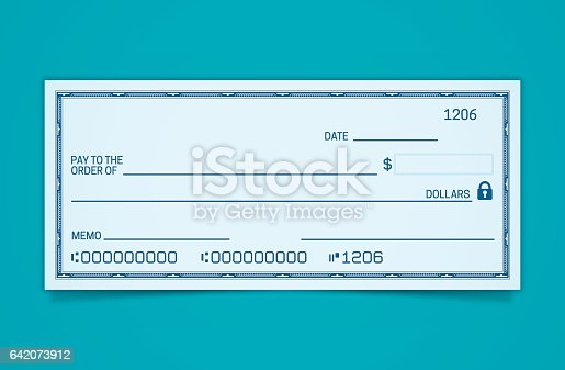Blank Bank and Credit Union check with space for your copy.
