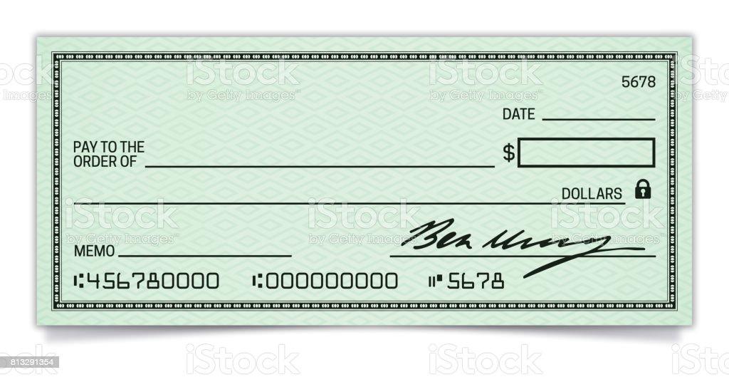 空白支票 - 免版稅一個物體圖庫向量圖形