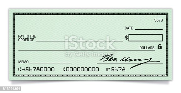 Blank Bank and Credit Union cheque with space for your copy.