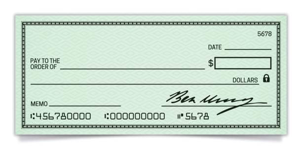 ilustrações, clipart, desenhos animados e ícones de cheque em branco - banco edifício financeiro