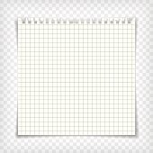 Blank checkered note book page with torn edge. Notepaper mockup. Graphic design element for text, advertisement, math, doodle, sketch, scrapbooking. Checkers paper piece. Realistic vector illustration