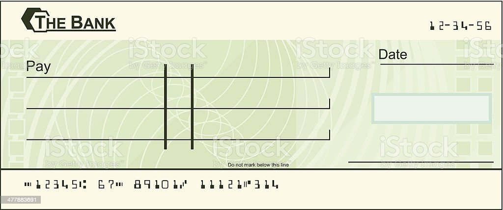 Blank cheque illustration royalty-free stock vector art