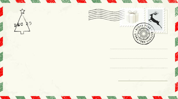 blank christmas postcard - postcard stock illustrations